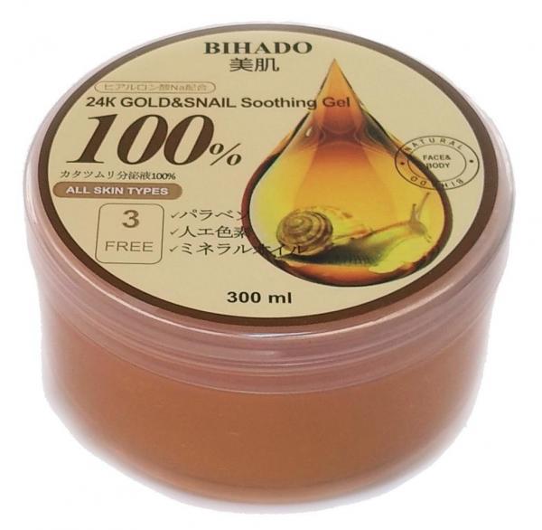 BIHADO Увлажняющий гель для лица и тела, с золотом (24K) и муцином улитки